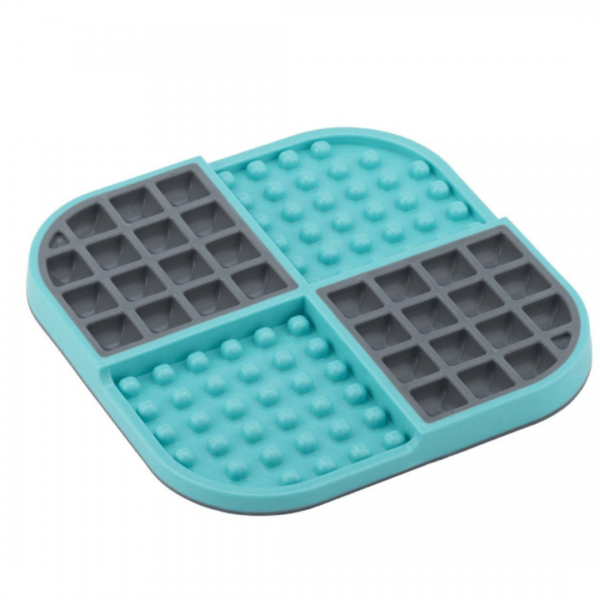Lickmat Turquoise slow feeding mat for cats and dogs in colour turquoise