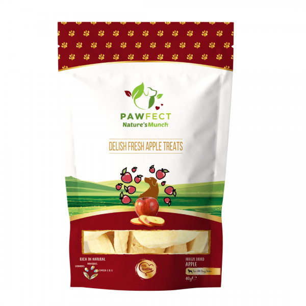Image shows a packet of Pawfect foods Delish Apple treats for dog