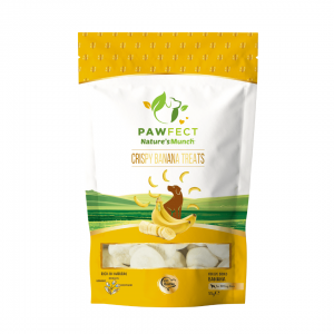Image shows a packet of Pawfect Foods Crispy Banana dog treats.