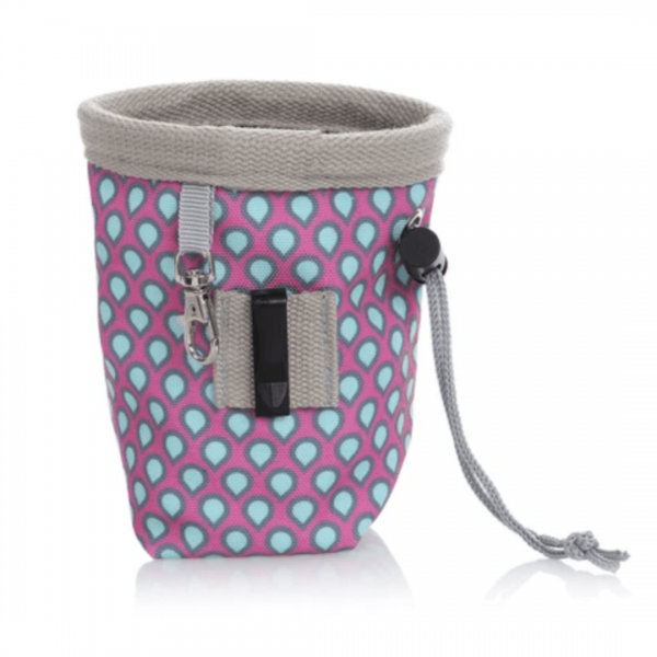 Image shows back of DOOG treat pouch small with Pink & blue pattern