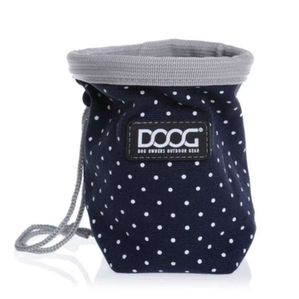 Image shows DOOG treat bag in navy blue with white spots.