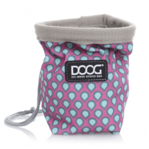 Image shows DOOG treat bag in pink & blue pattern.