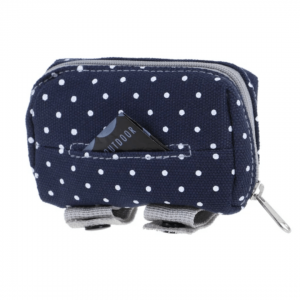 Image shows Doog Walkie Pouch in Stella print (Blue with white dots)