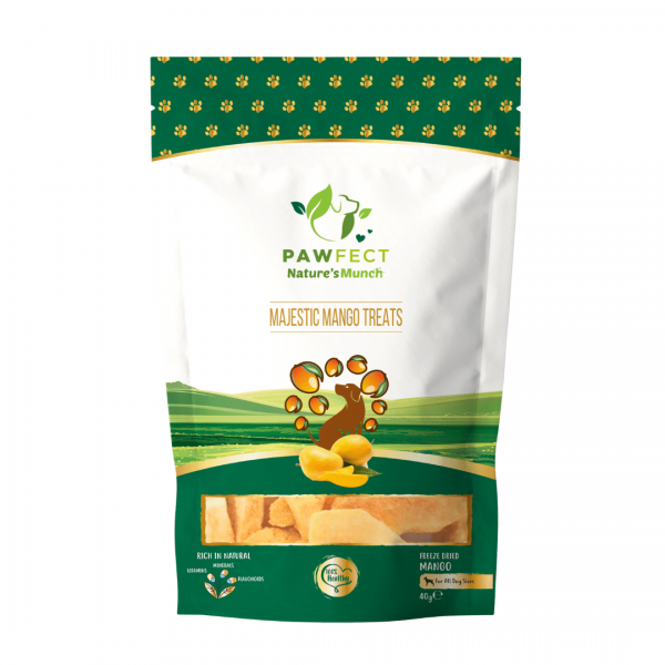 Image shows a packet of Pawfect Foods mango dog treats.